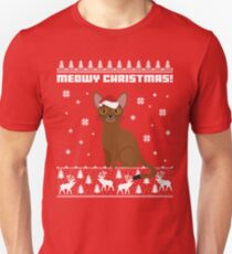 Abyssinian Cat Meowy Christmas Shirt, Christmas Santa Cat Unisex T-Shirt