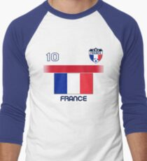 France Soccer Shirt with Flag, Shield and Number 10 Men's Baseball ¾ T-Shirt