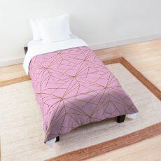 Pink Gold Geometric Pattern  Comforter
