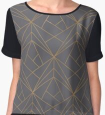 Grey Gold Geometric Pattern Women's Chiffon Top