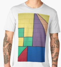 mixed color painted brick wall shapes abstract blue red yellow green purple black line Men's Premium T-Shirt
