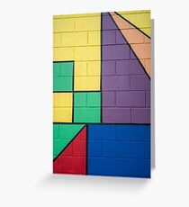 mixed color painted brick wall shapes abstract blue red yellow green purple black line Greeting Card