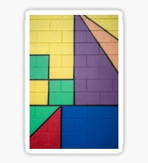 mixed color painted brick wall shapes abstract blue red yellow green purple black line Sticker