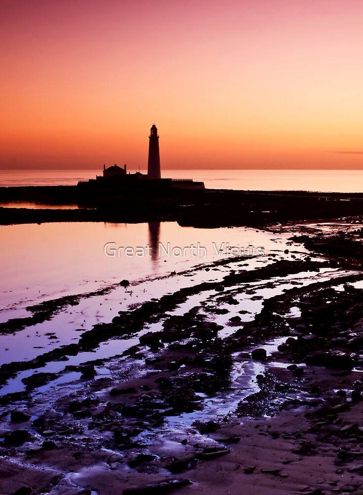 St. Mary's Lighthouse at Sunrise by Great North Views