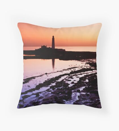 St. Mary's Lighthouse at Sunrise Throw Pillow