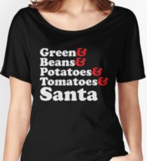 Green Beans Potatoes Tomatoes And Santa Women's Relaxed Fit T-Shirt