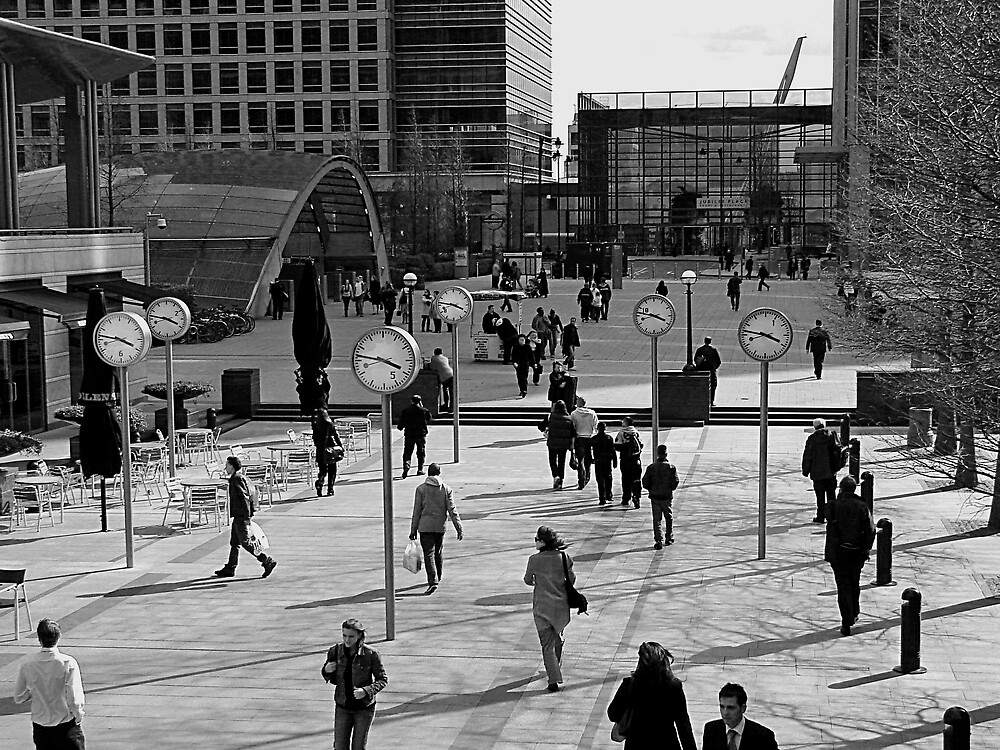 Canary Wharf clocks by jdphotos