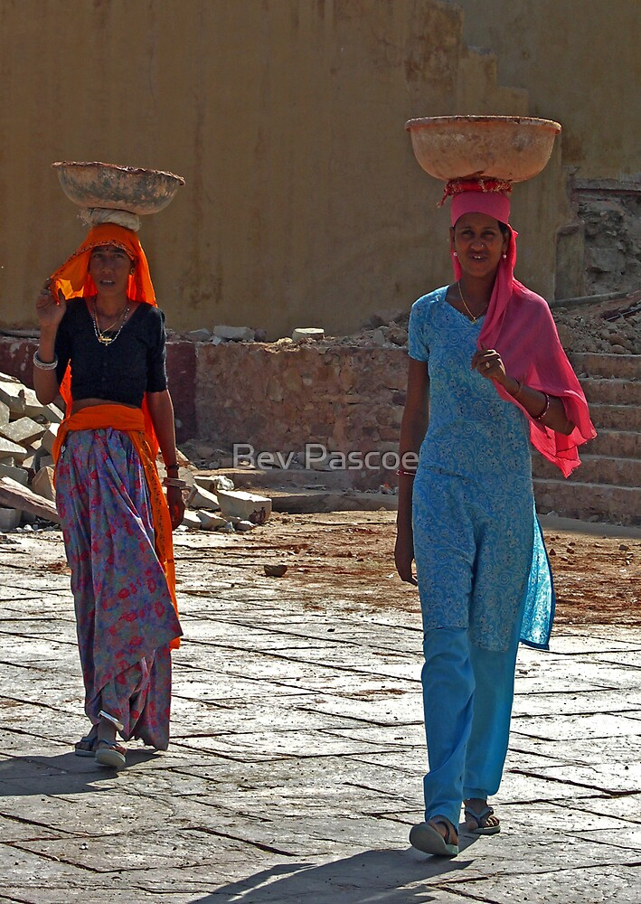 Workers at Amber Palace, Jaipur, India by Bev Pascoe