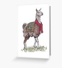 Lama der Garnbringer Grußkarte