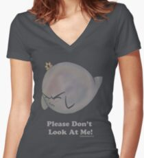 Please Don't Look At Me Women's Fitted V-Neck T-Shirt