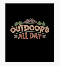 Camping, Hiking, Fishing, Outdoor Activity Design. Photographic Print