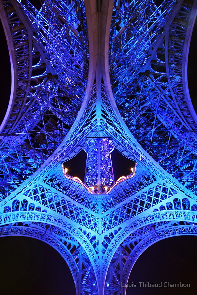 Blue Eiffel tower by Louis-Thibaud Chambon