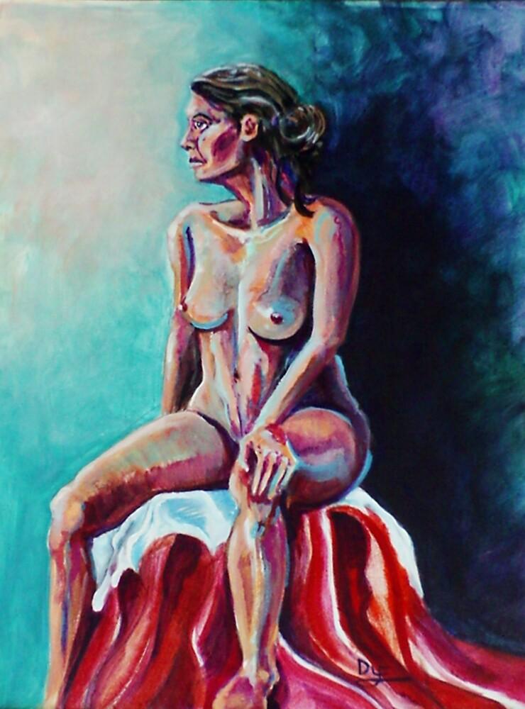 Serene Female Nude (Acrylics)- by Robert Dye