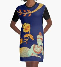 Flower Devi Green Goddess Graphic T-Shirt Dress