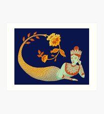 Flower Devi Green Goddess Art Print