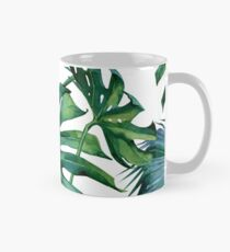 Classic Green Tropical Monstera Leaf and Palm Leaves on White Mug