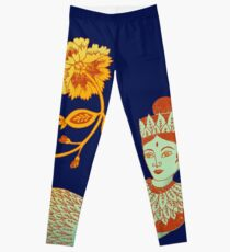 Flower Devi Green Goddess Leggings