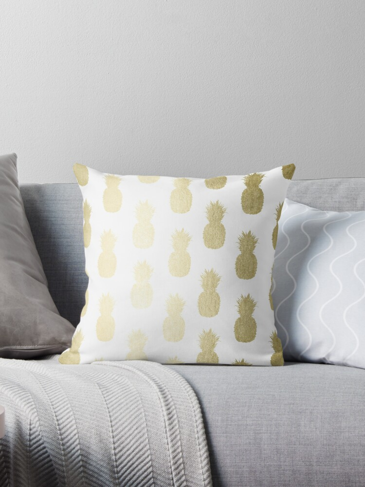 Golden Tropical Pineapple Shimmer Pattern by SimpleLuxe