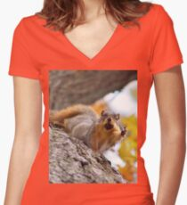 Squirrel Meme Women's Fitted V-Neck T-Shirt