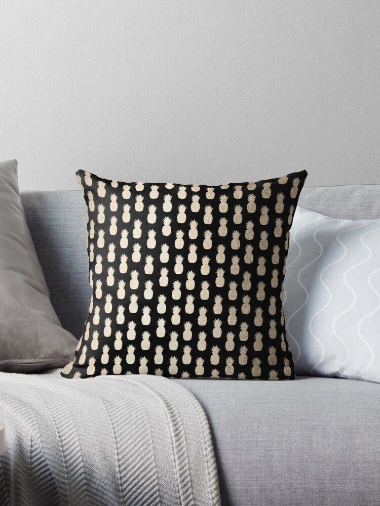 Golden Tropical Pineapple Shimmer on Black Pattern II by SimpleLuxe