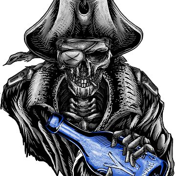 Pirate Skull Blue Bottle by Hotrodsc