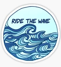 Pegatina Ride the Wave Quote Blue Wave Design