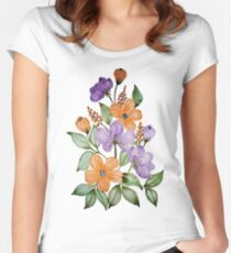 Watercolor orange and purple flowers  Women's Fitted Scoop T-Shirt