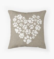 Dog Paw Prints Heart Throw Pillow