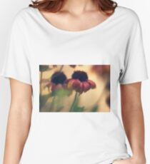 Extreme closeup of a flower with red petals  Women's Relaxed Fit T-Shirt
