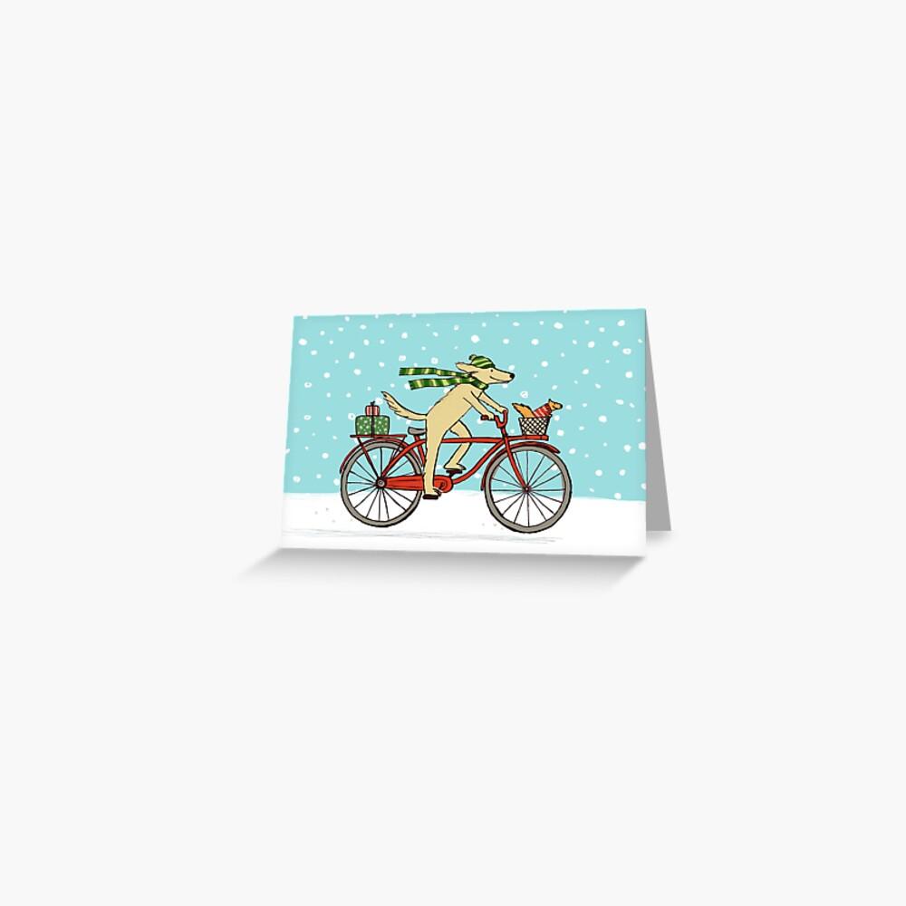 Radfahren Hund und Eichhörnchen Urlaub Grußkarte