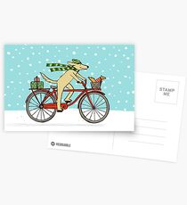 Cycling Dog and Squirrel Holiday Postcards