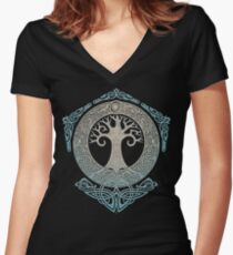 YGGDRASIL.TREE OF LIFE. Women's Fitted V-Neck T-Shirt