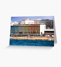 Israel, Tel Aviv coast line and cityscape dominated by the colourful facade of the Dan Hotel by Agam Greeting Card
