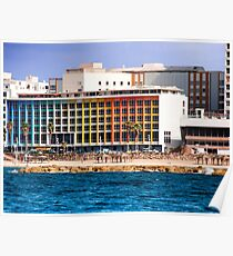 Israel, Tel Aviv coast line and cityscape dominated by the colourful facade of the Dan Hotel by Agam Poster