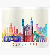 Cambridge landmarks watercolor poster Poster