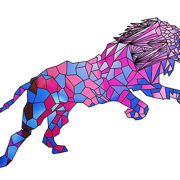 Geometric 80's Neon Lion by KineticZen