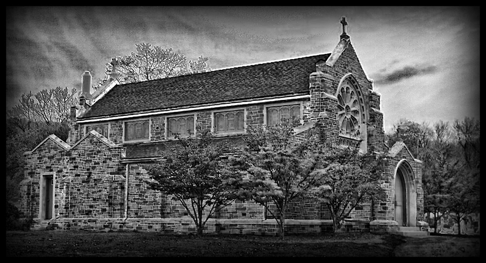 Black and White Church by GPMPhotography