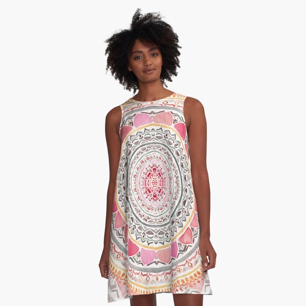 Pastel Bohemian Mandala A-Line Dress