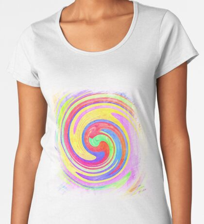 A white bowl filled with lots of colorful flowers Premium Scoop T-Shirt