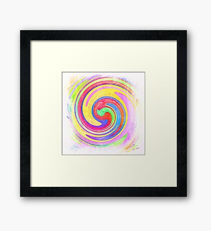 A white bowl filled with lots of colorful flowers Framed Print