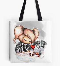 Little Goth Girl in the Snow (without text) Tote Bag