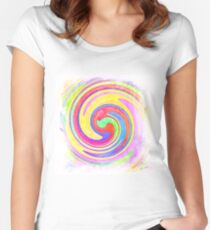 A white bowl filled with lots of colorful flowers Women's Fitted Scoop T-Shirt