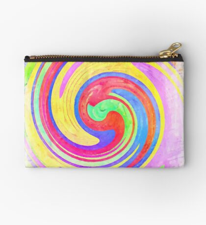 A white bowl filled with lots of colorful flowers Zipper Pouch