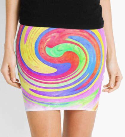 A white bowl filled with lots of colorful flowers Mini Skirt