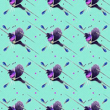 Wallpaper pattern design Bling Birds 6 Edouard Artus by EdouardArtus