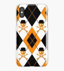 Orange Argyle Clockwork Skull iPhone Case