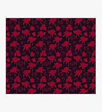 Red flowers scattered on a dark surface Photographic Print