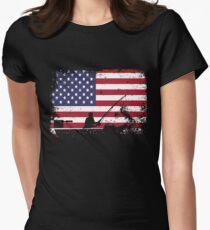 american flag fishing - usa fishing Women's Fitted T-Shirt