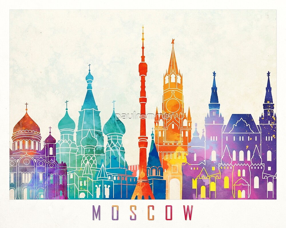 Moscow landmarks watercolor poster by paulrommer