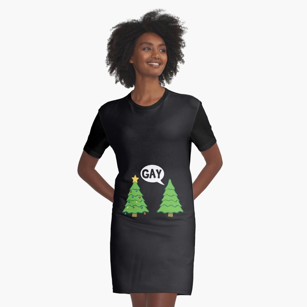 Gay Christmas Tree Funny Xmas Holiday Graphic T-Shirt Dress
